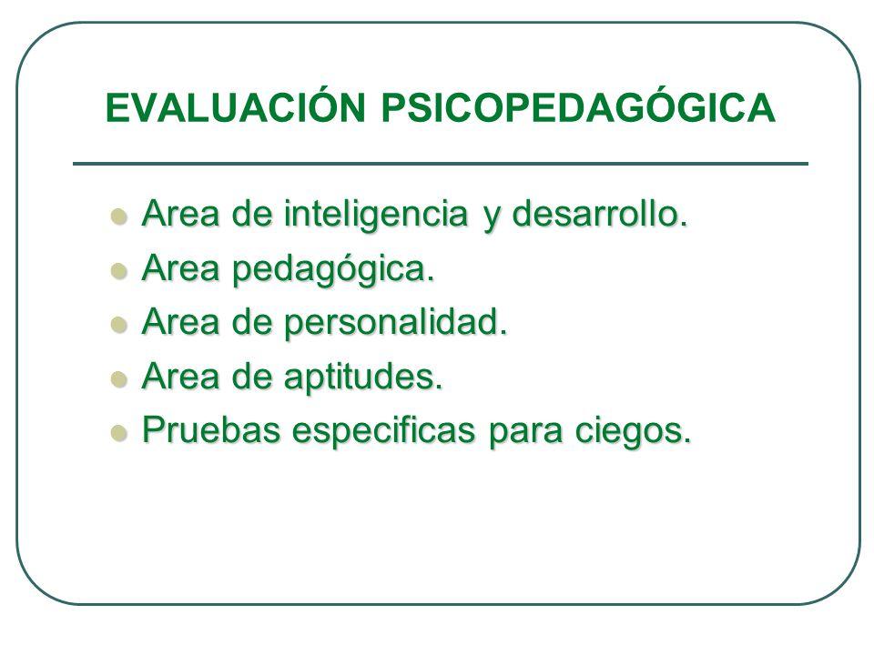 EVALUACIÓN PSICOPEDAGÓGICA Area de inteligencia y desarrollo. Area de inteligencia y desarrollo. Area pedagógica. Area pedagógica. Area de personalida