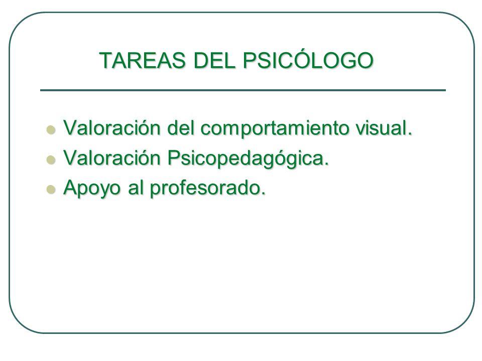 TAREAS DEL PSICÓLOGO Valoración del comportamiento visual. Valoración del comportamiento visual. Valoración Psicopedagógica. Valoración Psicopedagógic