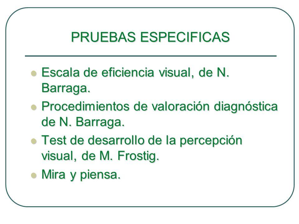 PRUEBAS ESPECIFICAS Escala de eficiencia visual, de N. Barraga. Escala de eficiencia visual, de N. Barraga. Procedimientos de valoración diagnóstica d