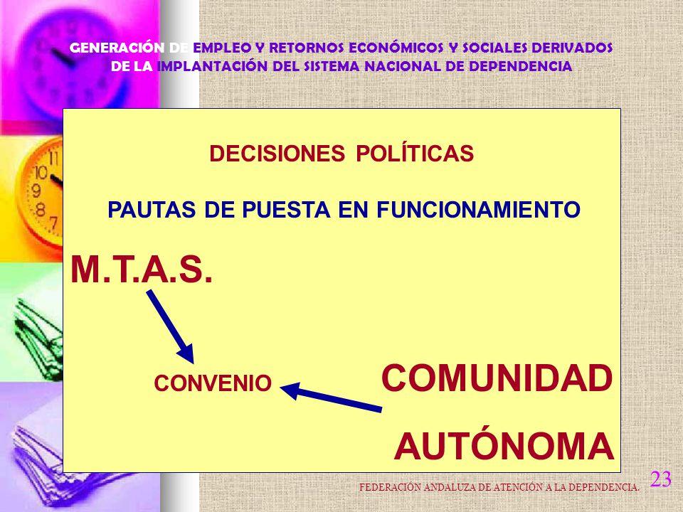 23 DECISIONES POLÍTICAS PAUTAS DE PUESTA EN FUNCIONAMIENTO M.T.A.S.