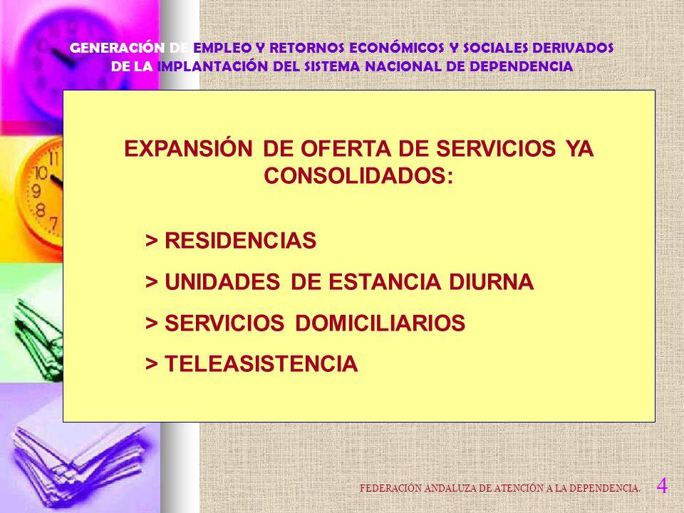 EXPANSIÓN DE OFERTA DE SERVICIOS YA CONSOLIDADOS: > RESIDENCIAS > UNIDADES DE ESTANCIA DIURNA > SERVICIOS DOMICILIARIOS > TELEASISTENCIA 4 GENERACIÓN DE EMPLEO Y RETORNOS ECONÓMICOS Y SOCIALES DERIVADOS DE LA IMPLANTACIÓN DEL SISTEMA NACIONAL DE DEPENDENCIA FEDERACIÓN ANDALUZA DE ATENCIÓN A LA DEPENDENCIA.