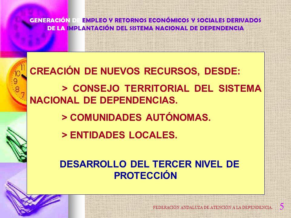 16 GENERACIÓN DE EMPLEO Y RETORNOS ECONÓMICOS Y SOCIALES DERIVADOS DE LA IMPLANTACIÓN DEL SISTEMA NACIONAL DE DEPENDENCIA FEDERACIÓN ANDALUZA DE ATENCIÓN A LA DEPENDENCIA.