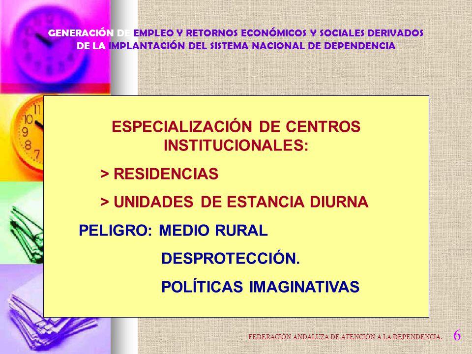 COMUNIDADES AUTÓNOMAS: > CENTROS DE EVALUACIÓN GRAN DEPENDENCIA DEPENDENCIA SEVERA DEPENDENCIA MODERADA (Dos niveles en cada grado) PROGRAMA INDIVIDUAL DE ATENCIÓN Acceso al catálogo de servicios GENERACIÓN DE EMPLEO Y RETORNOS ECONÓMICOS Y SOCIALES DERIVADOS DE LA IMPLANTACIÓN DEL SISTEMA NACIONAL DE DEPENDENCIA 7 FEDERACIÓN ANDALUZA DE ATENCIÓN A LA DEPENDENCIA.
