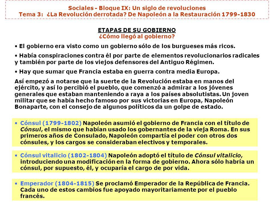 Sociales - Bloque IX: Un siglo de revoluciones Tema 3: ¿La Revolución derrotada? De Napoleón a la Restauración 1799-1830 ETAPAS DE SU GOBIERNO ¿Cómo l