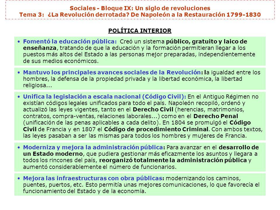 Sociales - Bloque IX: Un siglo de revoluciones Tema 3: ¿La Revolución derrotada? De Napoleón a la Restauración 1799-1830 POLÍTICA INTERIOR Durante su