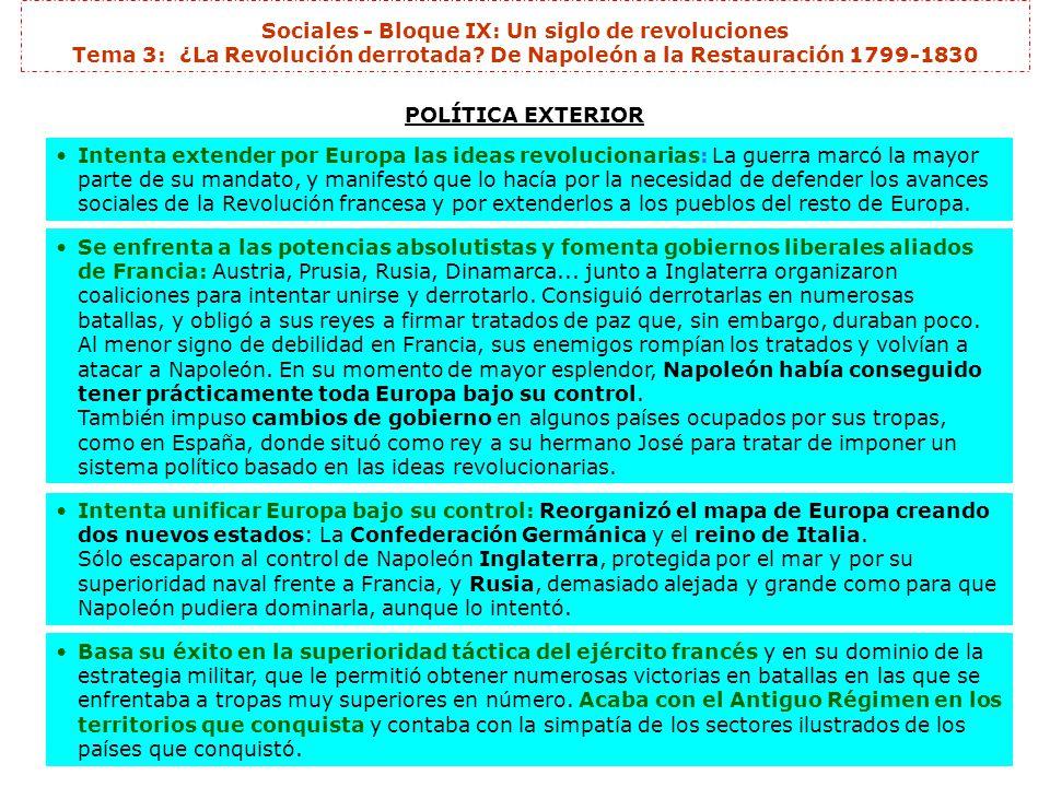 Sociales - Bloque IX: Un siglo de revoluciones Tema 3: ¿La Revolución derrotada? De Napoleón a la Restauración 1799-1830 POLÍTICA EXTERIOR Intenta ext