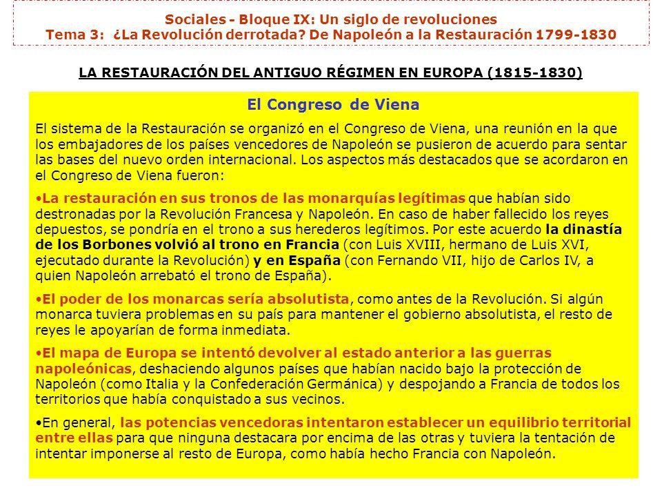 Sociales - Bloque IX: Un siglo de revoluciones Tema 3: ¿La Revolución derrotada.