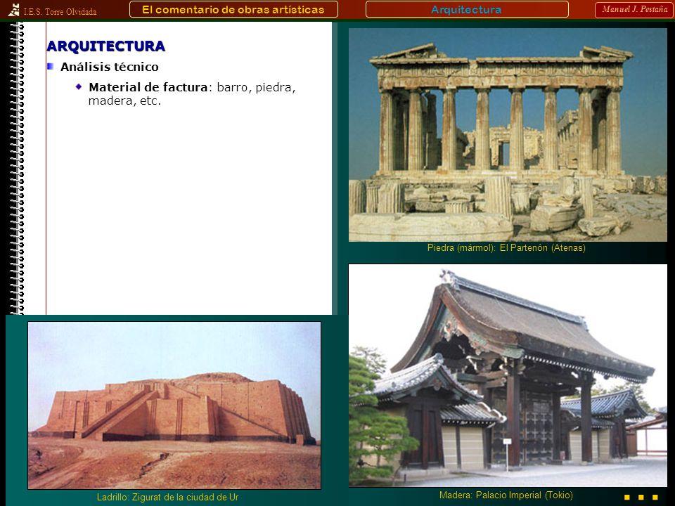 I.E.S. Torre Olvidada Manuel J. PestañaARQUITECTURA Análisis técnico Material de factura: barro, piedra, madera, etc. Arquitectura Madera: Palacio Imp