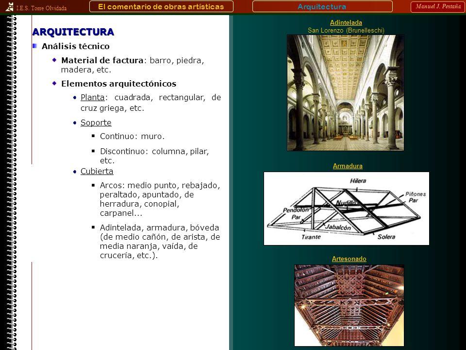 I.E.S. Torre Olvidada Manuel J. Pestaña Adintelada, armadura, bóveda (de medio cañón, de arista, de media naranja, vaída, de crucería, etc.). Arquitec