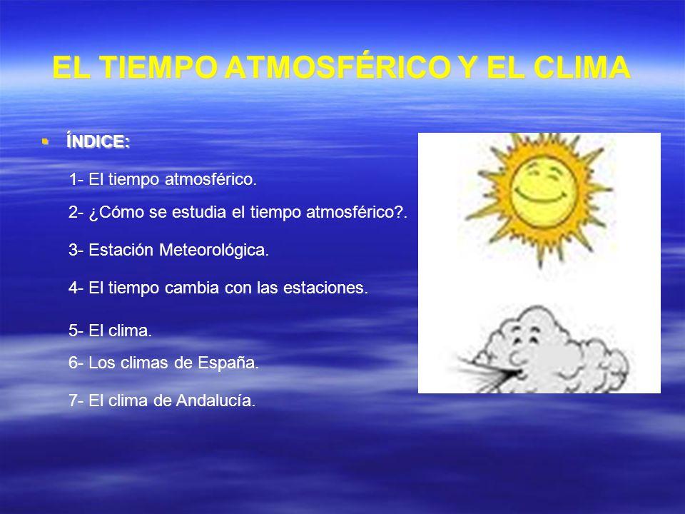 EL TIEMPO ATMOSFÉRICO Y EL CLIMA ÍNDICE: ÍNDICE: 1- El tiempo atmosférico. 2- ¿Cómo se estudia el tiempo atmosférico?. 3- Estación Meteorológica. 4- E