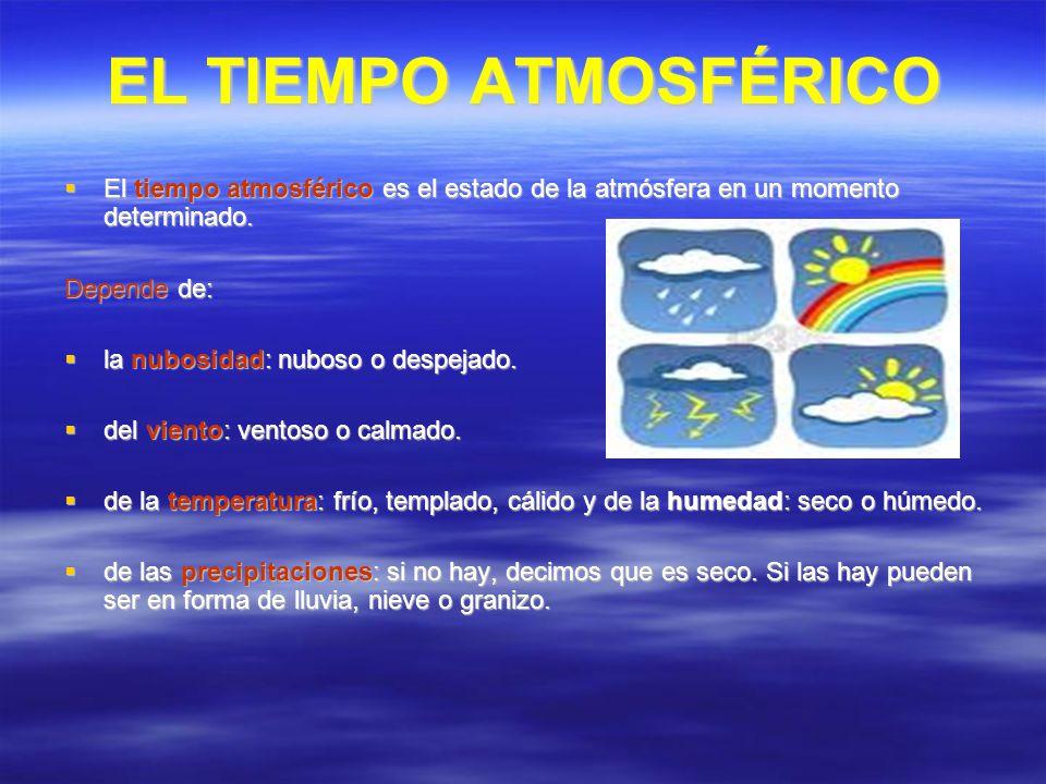 EL TIEMPO ATMOSFÉRICO El tiempo atmosférico es el estado de la atmósfera en un momento determinado. El tiempo atmosférico es el estado de la atmósfera
