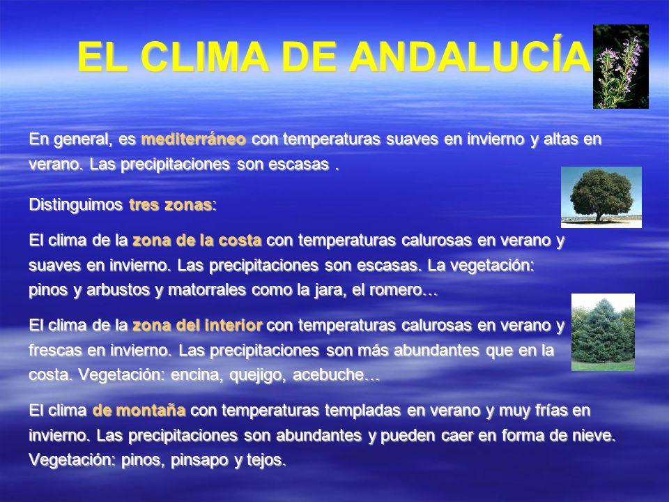 EL CLIMA DE ANDALUCÍA En general, es mediterráneo con temperaturas suaves en invierno y altas en verano. Las precipitaciones son escasas. Distinguimos