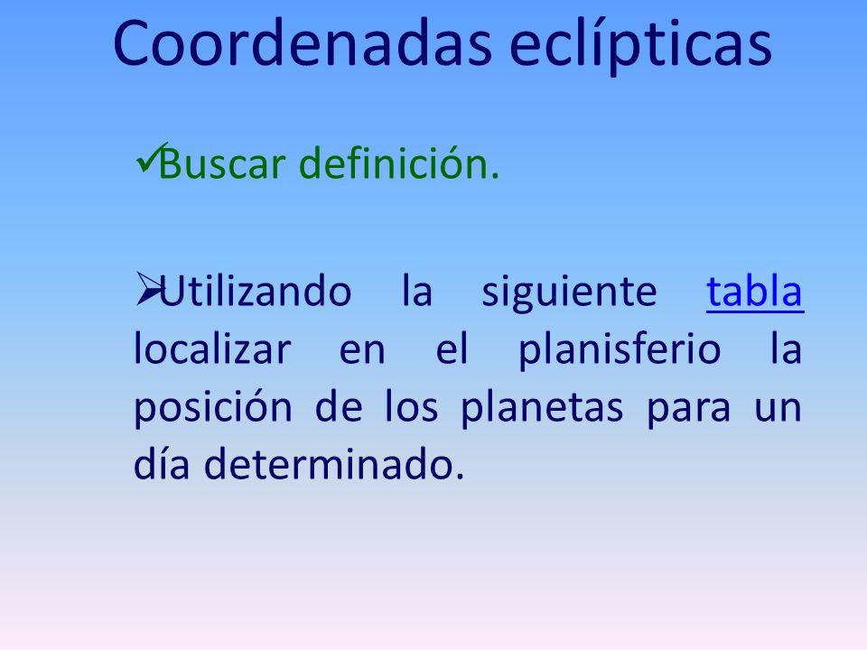 Buscar definición. Utilizando la siguiente tabla localizar en el planisferio la posición de los planetas para un día determinado.tabla