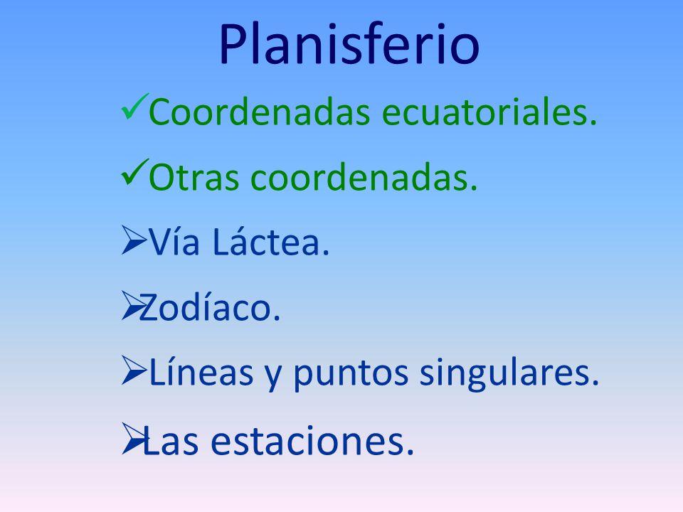 Planisferio Coordenadas ecuatoriales. Otras coordenadas. Vía Láctea. Zodíaco. Líneas y puntos singulares. Las estaciones.