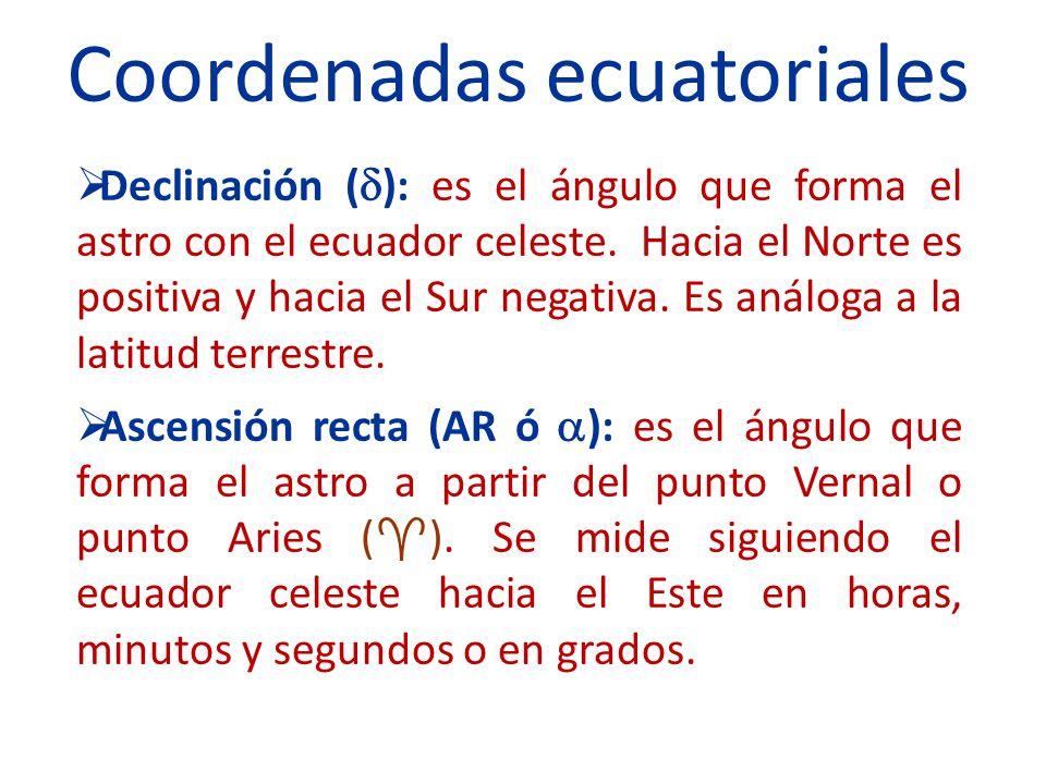 Declinación ( ): es el ángulo que forma el astro con el ecuador celeste. Hacia el Norte es positiva y hacia el Sur negativa. Es análoga a la latitud t