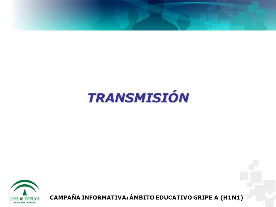 CAMPAÑA INFORMATIVA: ÁMBITO EDUCATIVO GRIPE A (H1N1) TRANSMISIÓN