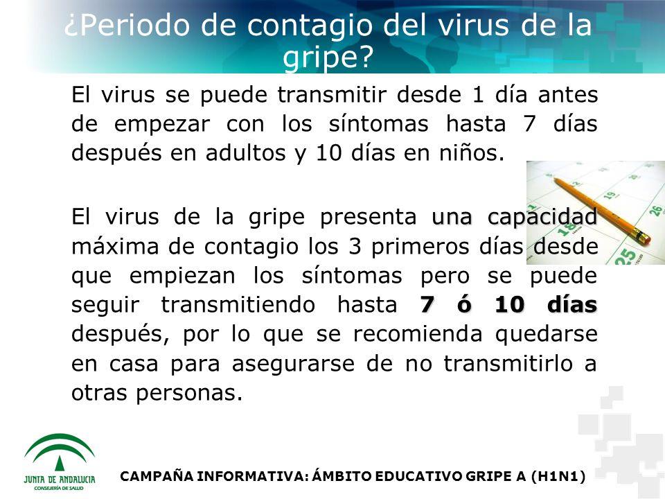 CAMPAÑA INFORMATIVA: ÁMBITO EDUCATIVO GRIPE A (H1N1) ¿Periodo de contagio del virus de la gripe.
