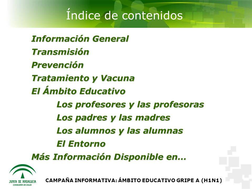 CAMPAÑA INFORMATIVA: ÁMBITO EDUCATIVO GRIPE A (H1N1) Información General Transmisión Prevención Tratamiento y Vacuna El Ámbito Educativo Los profesores y las profesoras Los padres y las madres Los alumnos y las alumnas El Entorno Más Información Disponible en… Índice de contenidos