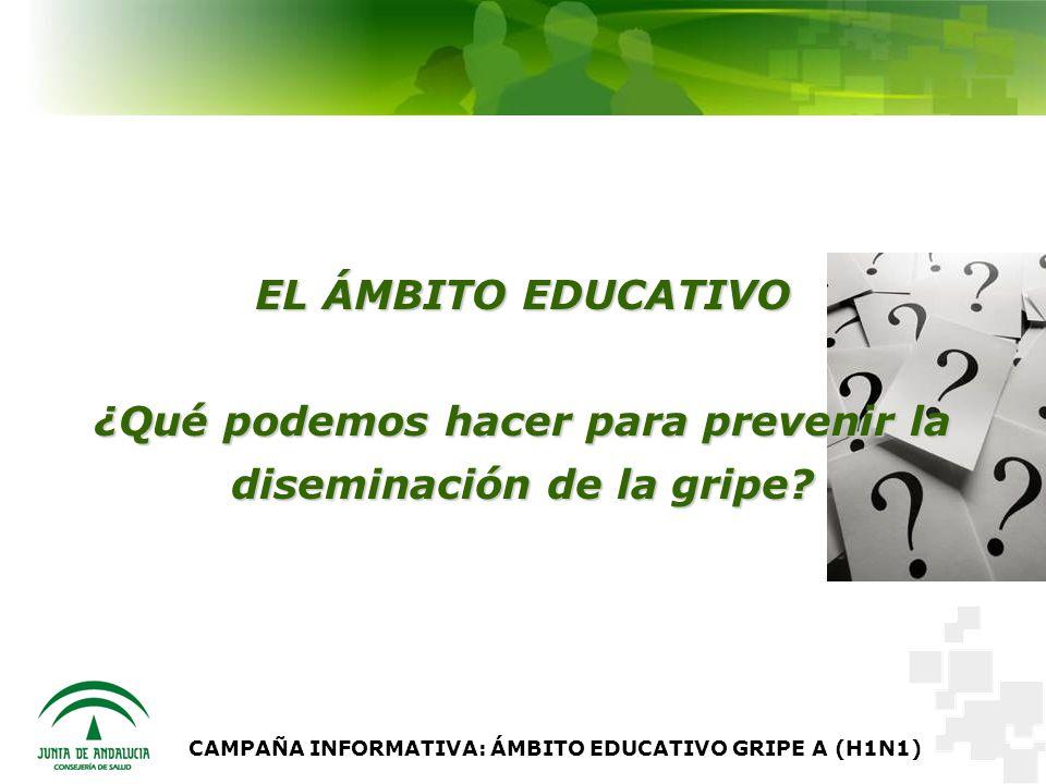 CAMPAÑA INFORMATIVA: ÁMBITO EDUCATIVO GRIPE A (H1N1) EL ÁMBITO EDUCATIVO ¿Qué podemos hacer para prevenir la diseminación de la gripe?