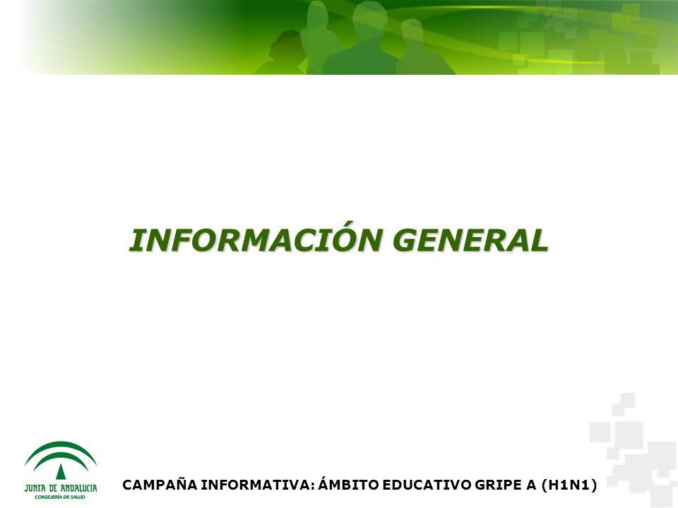 CAMPAÑA INFORMATIVA: ÁMBITO EDUCATIVO GRIPE A (H1N1) INFORMACIÓN GENERAL