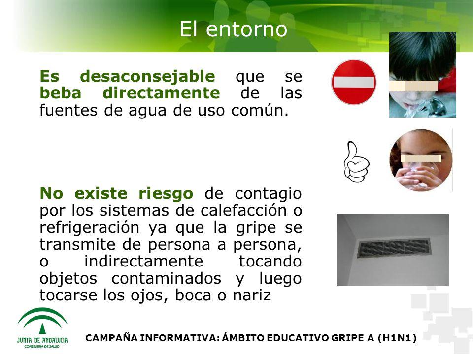 CAMPAÑA INFORMATIVA: ÁMBITO EDUCATIVO GRIPE A (H1N1) El entorno Es desaconsejable que se beba directamente de las fuentes de agua de uso común.