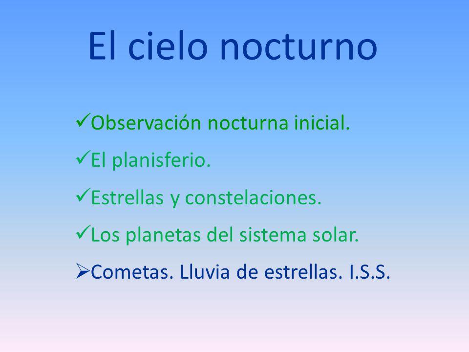 El cielo nocturno Observación nocturna inicial. El planisferio. Estrellas y constelaciones. Los planetas del sistema solar. Cometas. Lluvia de estrell