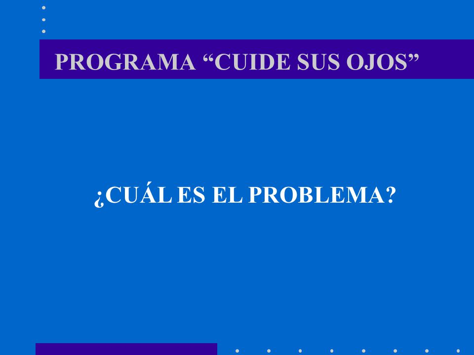 PROGRAMA CUIDE SUS OJOS REGION AREQUIPA: Población Total : 1`000,000 Población Objetivo 250,000