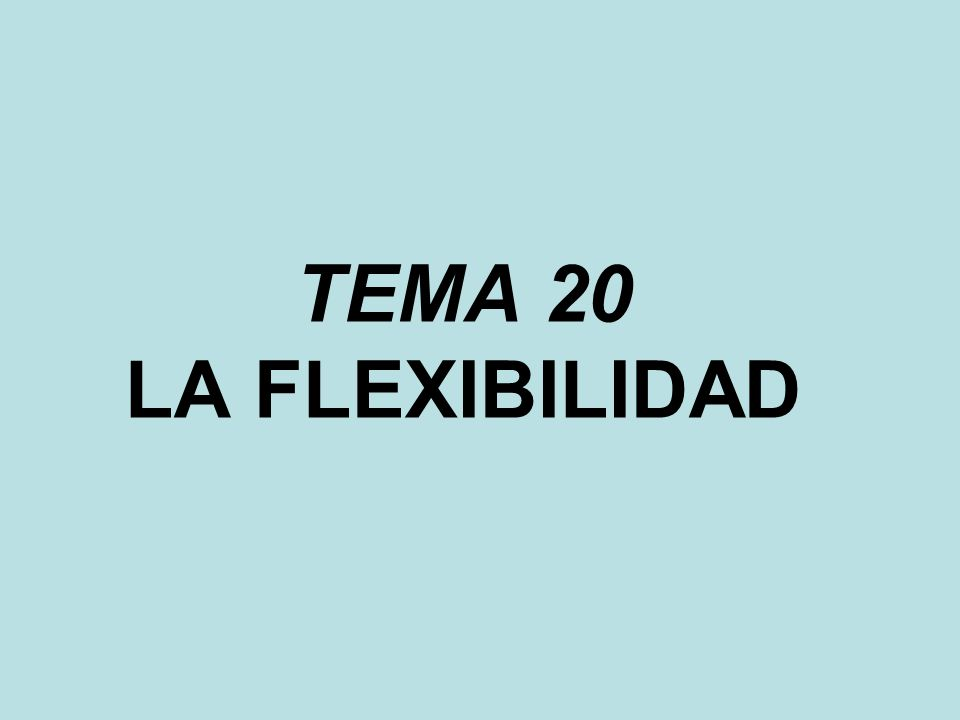 TEMA 20 LA FLEXIBILIDAD