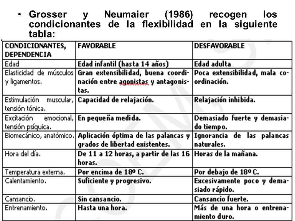 Grosser y Neumaier (1986) recogen los condicionantes de la flexibilidad en la siguiente tabla: