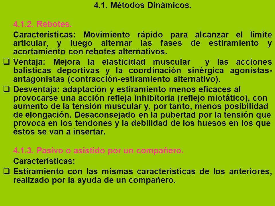4.1. Métodos Dinámicos. 4.1.2. Rebotes. Características: Movimiento rápido para alcanzar el límite articular, y luego alternar las fases de estiramien