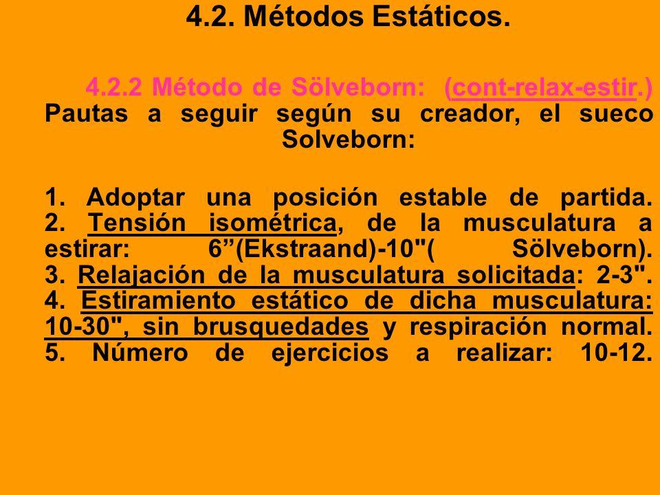 4.2. Métodos Estáticos. 4.2.2 Método de Sölveborn: (cont-relax-estir.) Pautas a seguir según su creador, el sueco Solveborn: 1. Adoptar una posición e