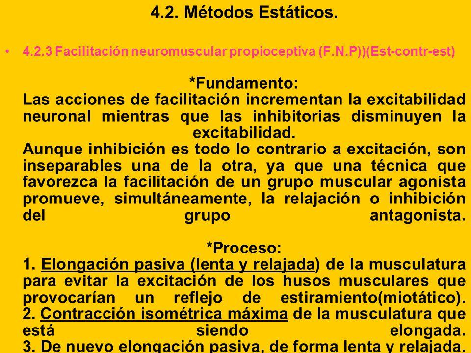 4.2. Métodos Estáticos. 4.2.3 Facilitación neuromuscular propioceptiva (F.N.P))(Est-contr-est) *Fundamento: Las acciones de facilitación incrementan l