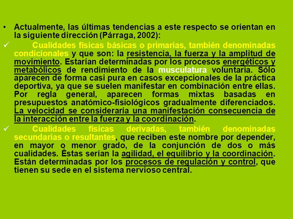 Actualmente, las últimas tendencias a este respecto se orientan en la siguiente dirección (Párraga, 2002): Cualidades físicas básicas o primarias, tam
