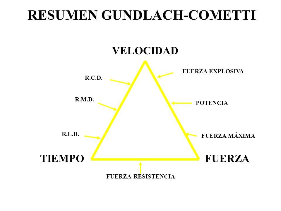 VELOCIDAD TIEMPOFUERZA RESUMEN GUNDLACH-COMETTI FUERZA-RESISTENCIA POTENCIA FUERZA MÁXIMA FUERZA EXPLOSIVA R.C.D. R.M.D. R.L.D.
