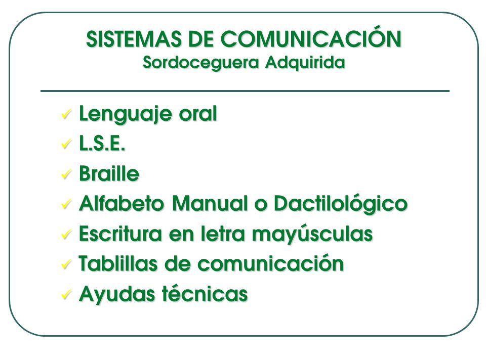 SISTEMAS DE COMUNICACIÓN Sordoceguera Adquirida Lenguaje oral Lenguaje oral L.S.E. L.S.E. Braille Braille Alfabeto Manual o Dactilológico Alfabeto Man