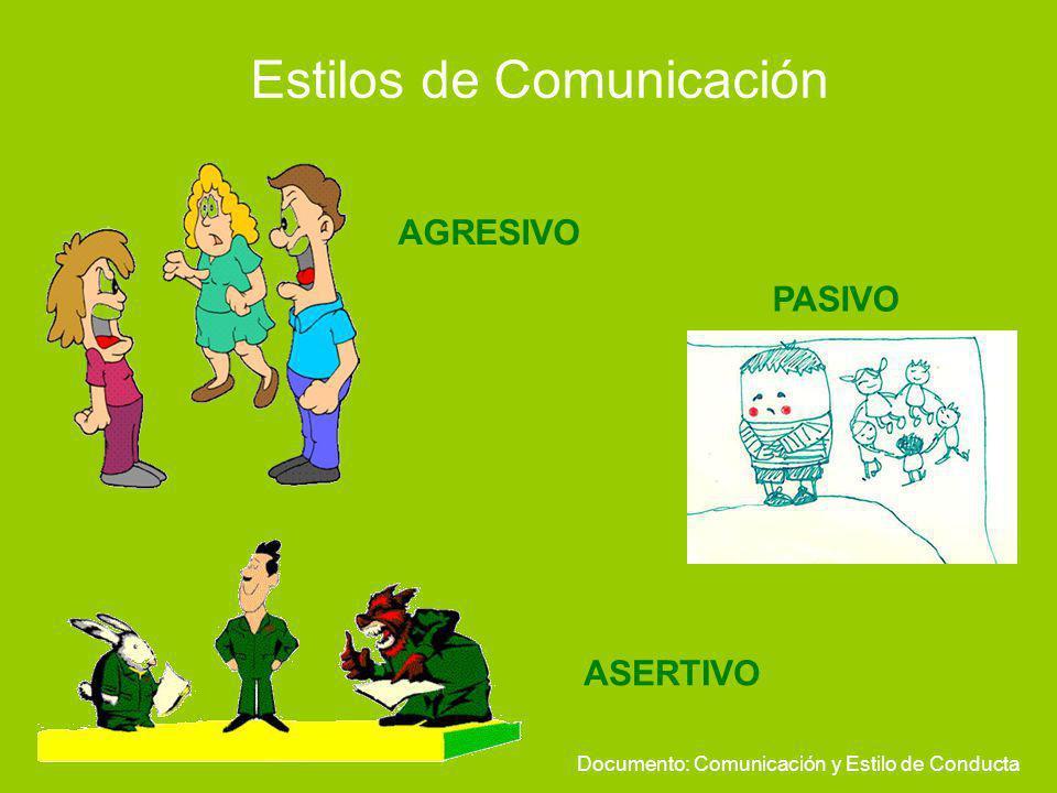 Estilos de Comunicación PASIVO AGRESIVO ASERTIVO Documento: Comunicación y Estilo de Conducta