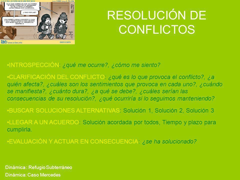 RESOLUCIÓN DE CONFLICTOS Dinámica : Refugio Subterráneo INTROSPECCIÓN: ¿qué me ocurre?, ¿cómo me siento? CLARIFICACIÓN DEL CONFLICTO: ¿qué es lo que p