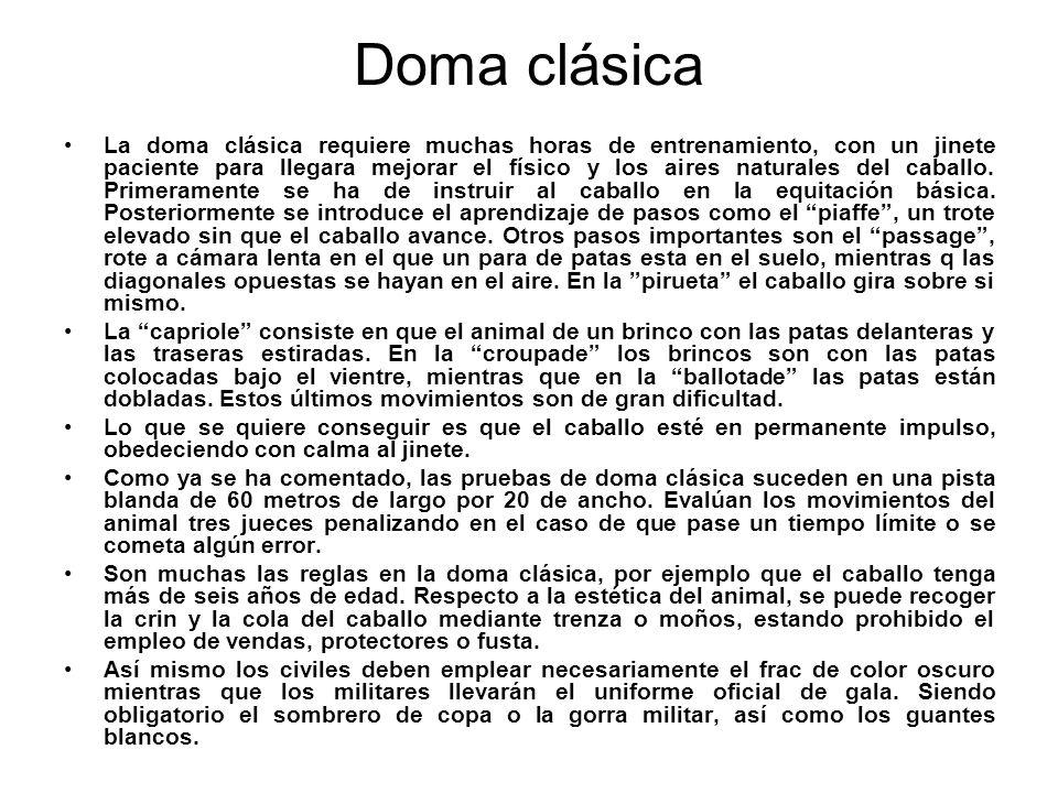 Doma vaquera La doma vaquera es una disciplina fundamentalmente española, que surgió en función de las faenas del campo, se denomina vaquera si media en ella el ganado vacuno (ganado bravo).