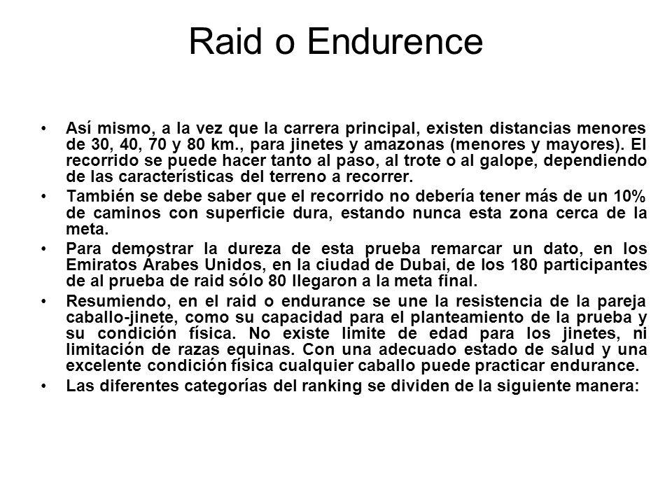 Raid o Endurence Así mismo, a la vez que la carrera principal, existen distancias menores de 30, 40, 70 y 80 km., para jinetes y amazonas (menores y m
