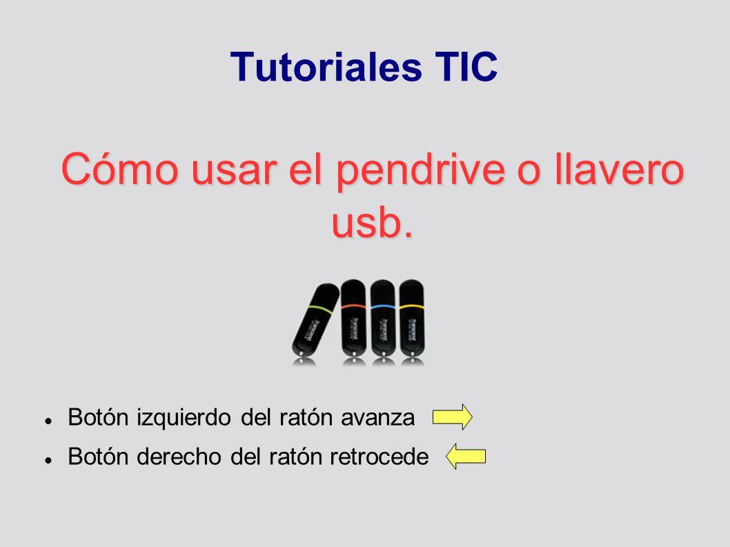 Tutoriales TIC Cómo usar el pendrive o llavero usb. Botón izquierdo del ratón avanza Botón derecho del ratón retrocede