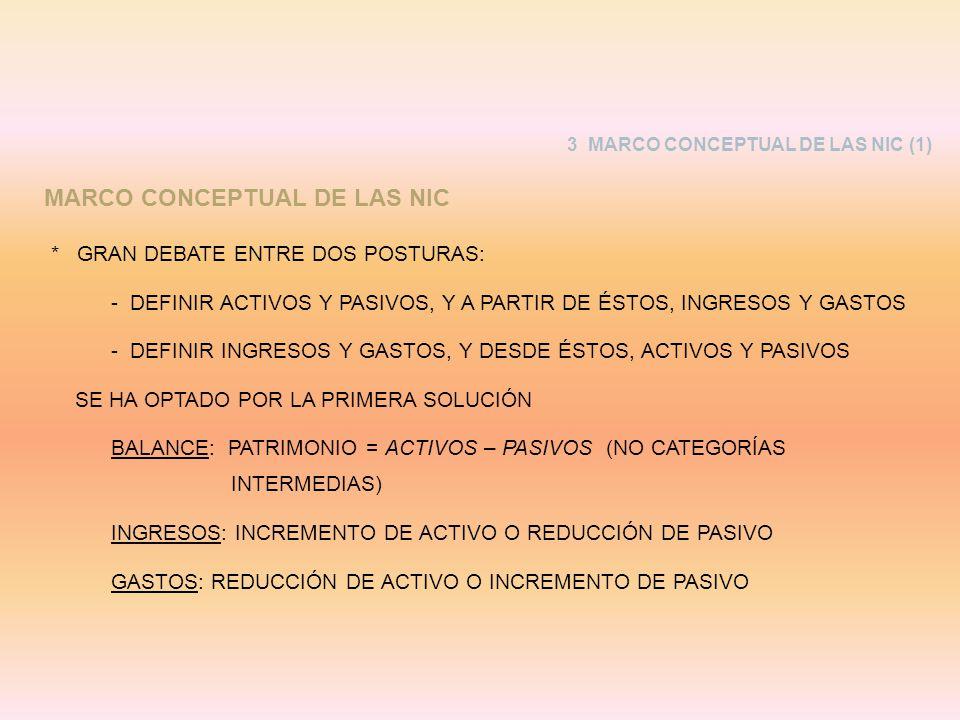 3 MARCO CONCEPTUAL DE LAS NIC (1) MARCO CONCEPTUAL DE LAS NIC * GRAN DEBATE ENTRE DOS POSTURAS: -DEFINIR ACTIVOS Y PASIVOS, Y A PARTIR DE ÉSTOS, INGRE