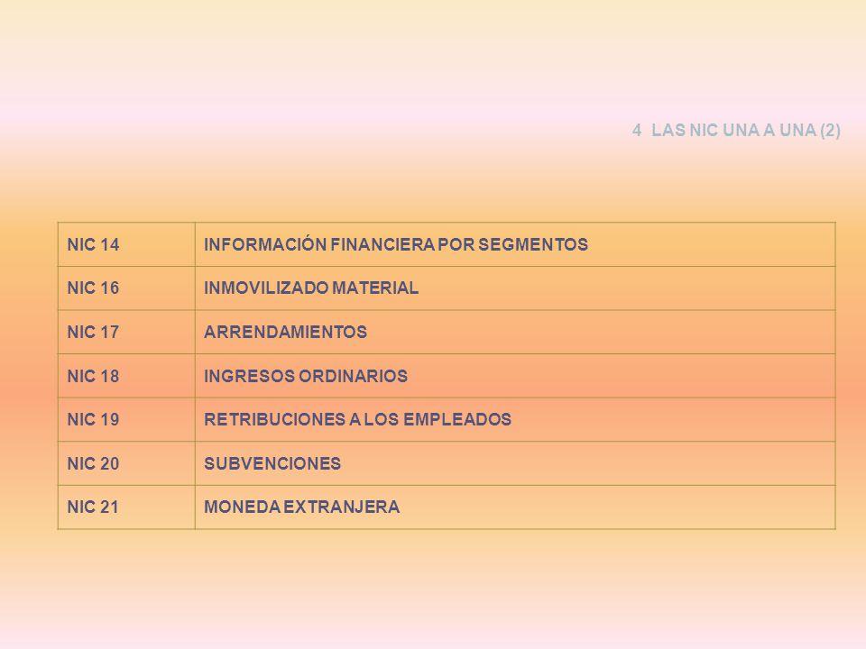 NIC 14INFORMACIÓN FINANCIERA POR SEGMENTOS NIC 16INMOVILIZADO MATERIAL NIC 17ARRENDAMIENTOS NIC 18INGRESOS ORDINARIOS NIC 19RETRIBUCIONES A LOS EMPLEA