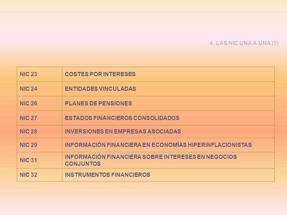 NIC 23COSTES POR INTERESES NIC 24ENTIDADES VINCULADAS NIC 26PLANES DE PENSIONES NIC 27ESTADOS FINANCIEROS CONSOLIDADOS NIC 28INVERSIONES EN EMPRESAS A