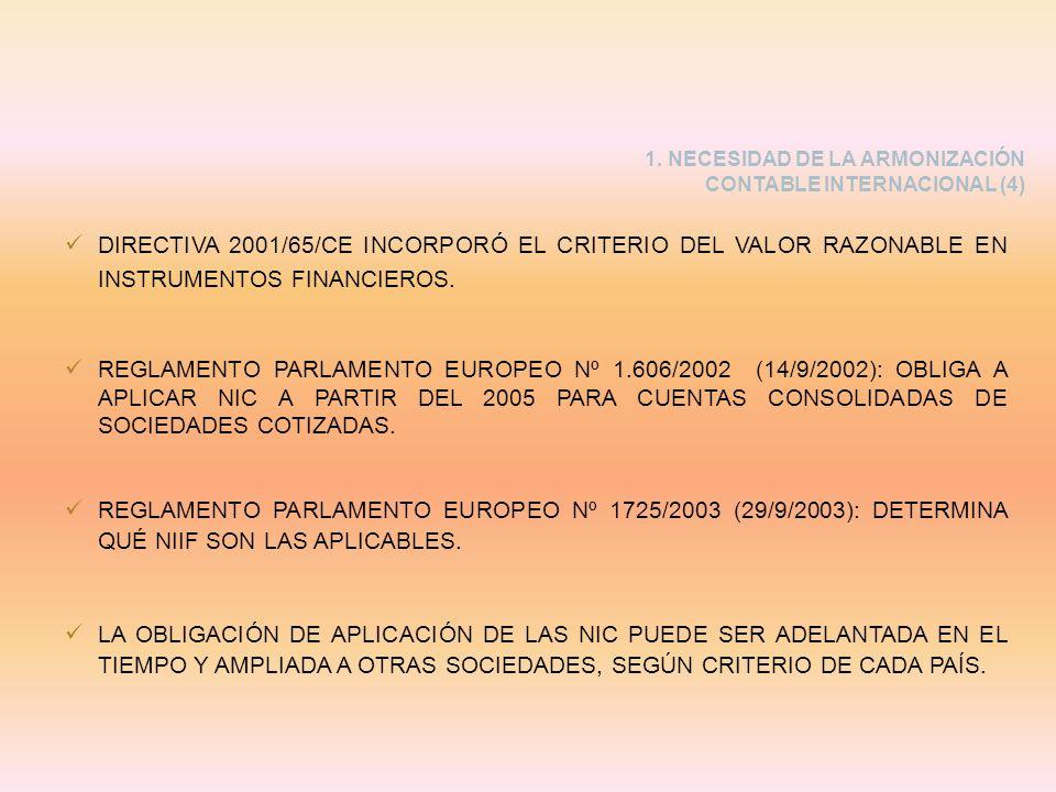 1. NECESIDAD DE LA ARMONIZACIÓN CONTABLE INTERNACIONAL (4) DIRECTIVA 2001/65/CE INCORPORÓ EL CRITERIO DEL VALOR RAZONABLE EN INSTRUMENTOS FINANCIEROS.