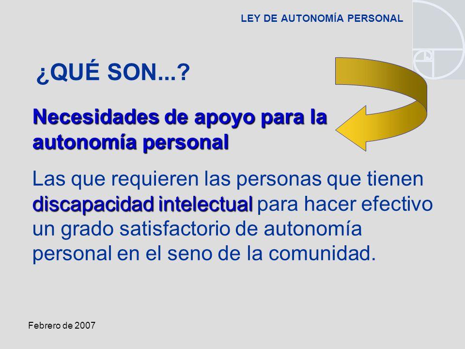 Febrero de 2007 LEY DE AUTONOMÍA PERSONAL Necesidades de apoyo para la autonomía personal discapacidad intelectual Las que requieren las personas que tienen discapacidad intelectual para hacer efectivo un grado satisfactorio de autonomía personal en el seno de la comunidad.