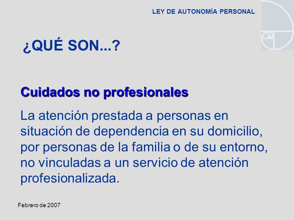 Febrero de 2007 LEY DE AUTONOMÍA PERSONAL Cuidados no profesionales La atención prestada a personas en situación de dependencia en su domicilio, por personas de la familia o de su entorno, no vinculadas a un servicio de atención profesionalizada.