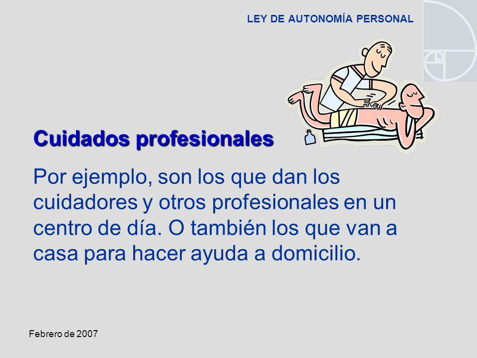 Febrero de 2007 LEY DE AUTONOMÍA PERSONAL Cuidados profesionales Por ejemplo, son los que dan los cuidadores y otros profesionales en un centro de día.