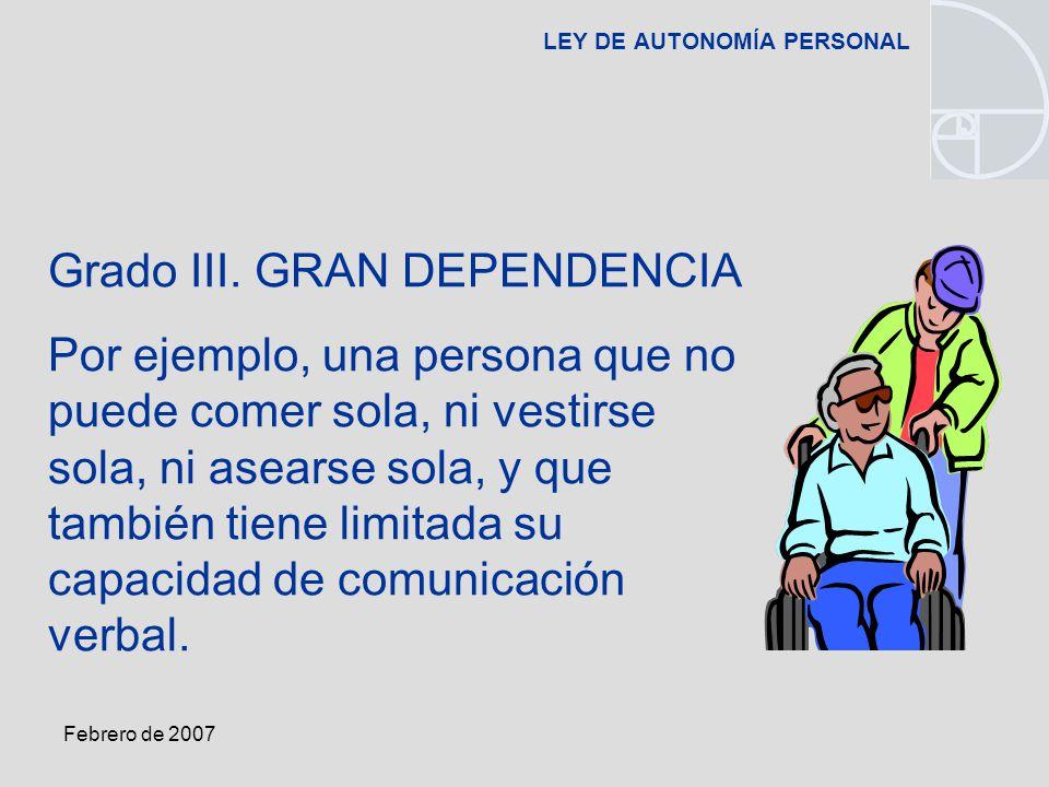Febrero de 2007 LEY DE AUTONOMÍA PERSONAL Grado III.