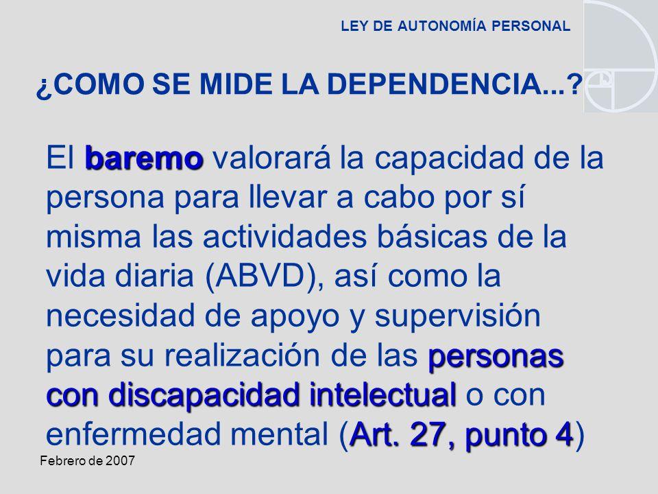 Febrero de 2007 LEY DE AUTONOMÍA PERSONAL baremo personas con discapacidad intelectual Art.