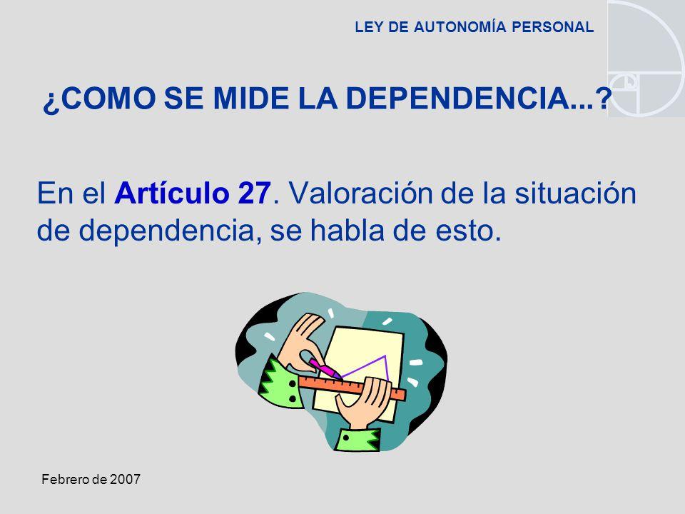 Febrero de 2007 LEY DE AUTONOMÍA PERSONAL En el Artículo 27.